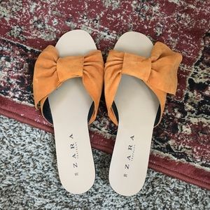 Zara bow slides sandals